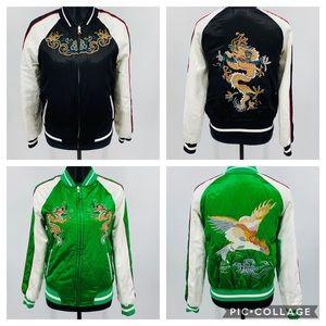 Topshop Reversible Embroidered Bomber Jacket